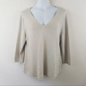 Eileen Fisher XL Silk Blend Beige Sweater